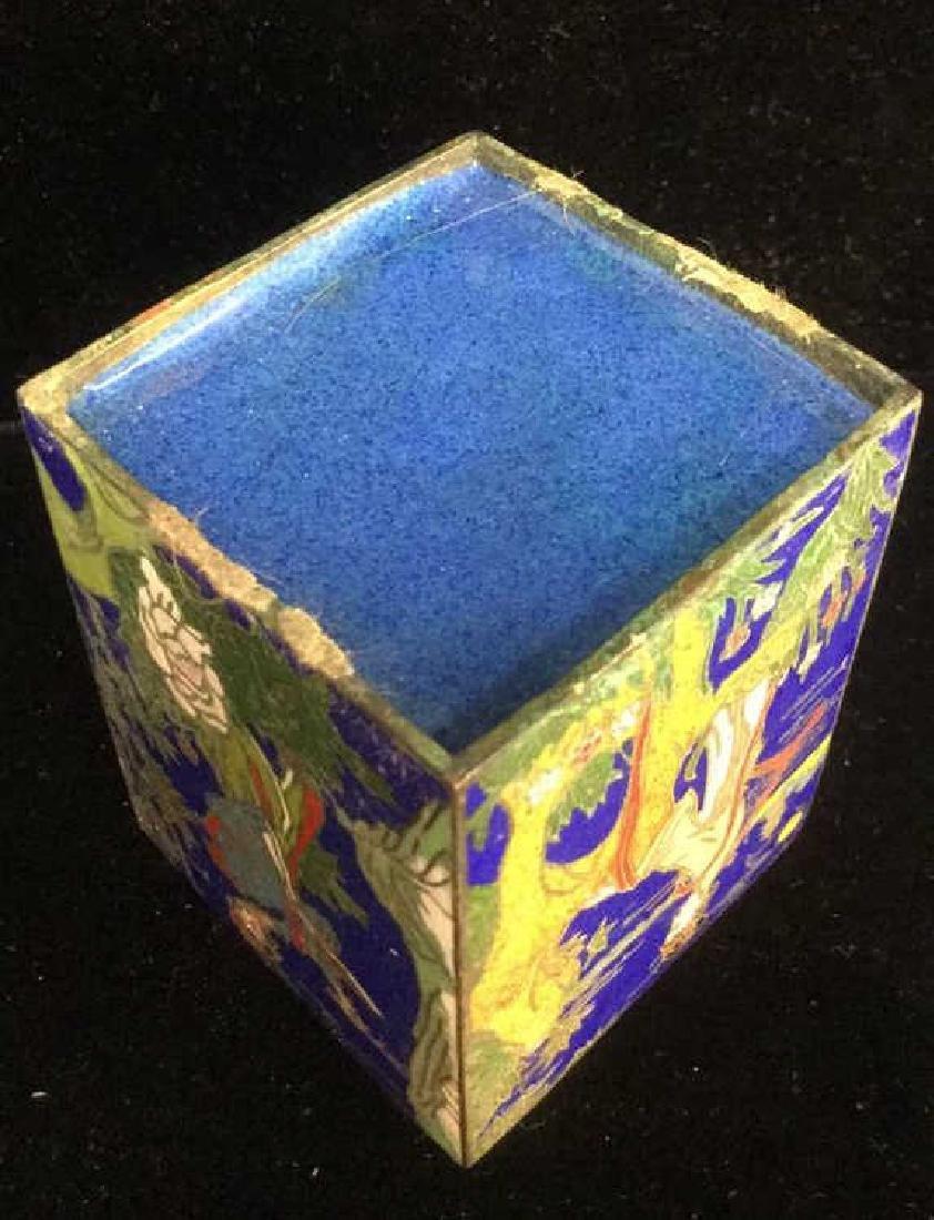 Vintage Asian Cloisonne Trinket Box With Lid - 8