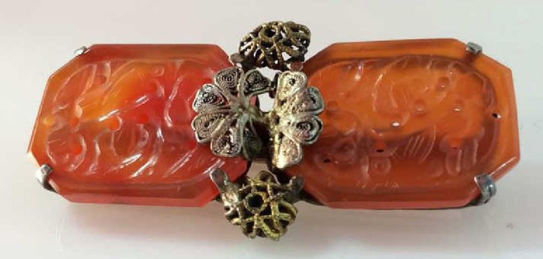 Sterling Silver W Natural Stone Brooch Pin