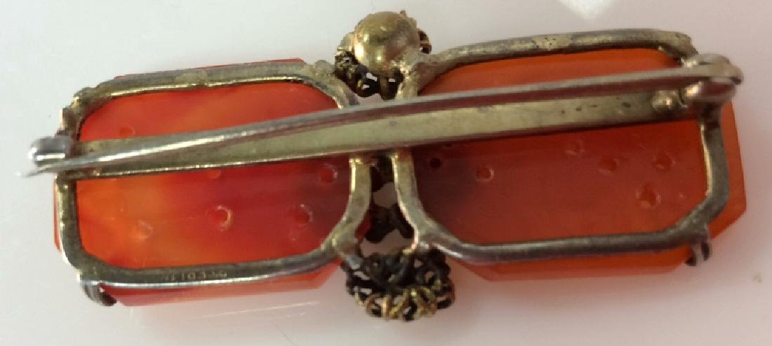 Sterling Silver W Natural Stone Brooch Pin - 6