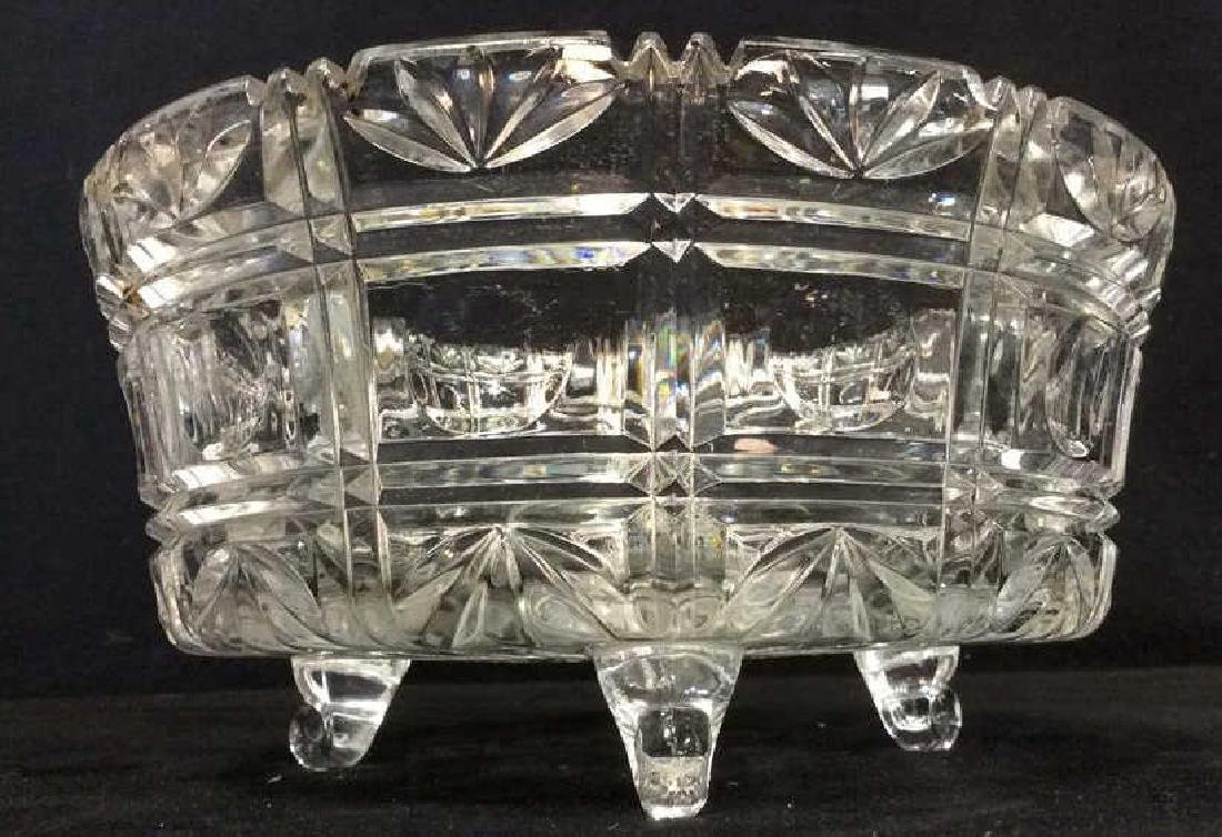 Footed Ornately Cut Crystal Centerpiece Bowl