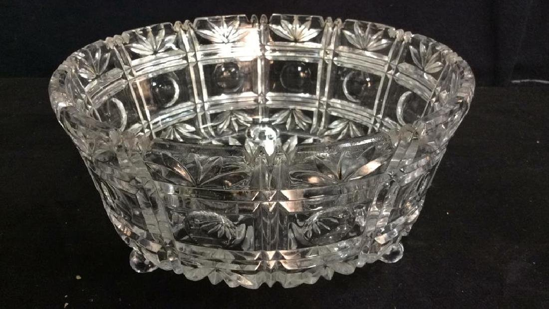 Footed Ornately Cut Crystal Centerpiece Bowl - 2