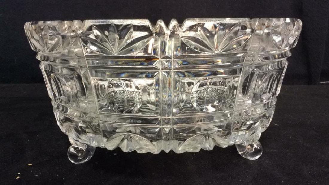 Footed Ornately Cut Crystal Centerpiece Bowl - 3