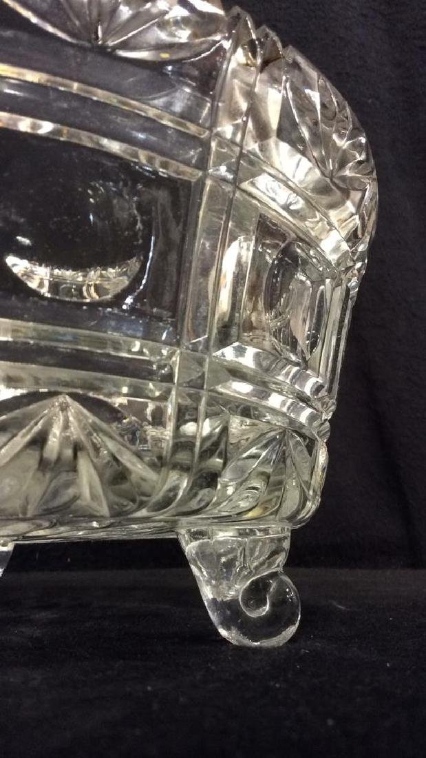 Footed Ornately Cut Crystal Centerpiece Bowl - 7