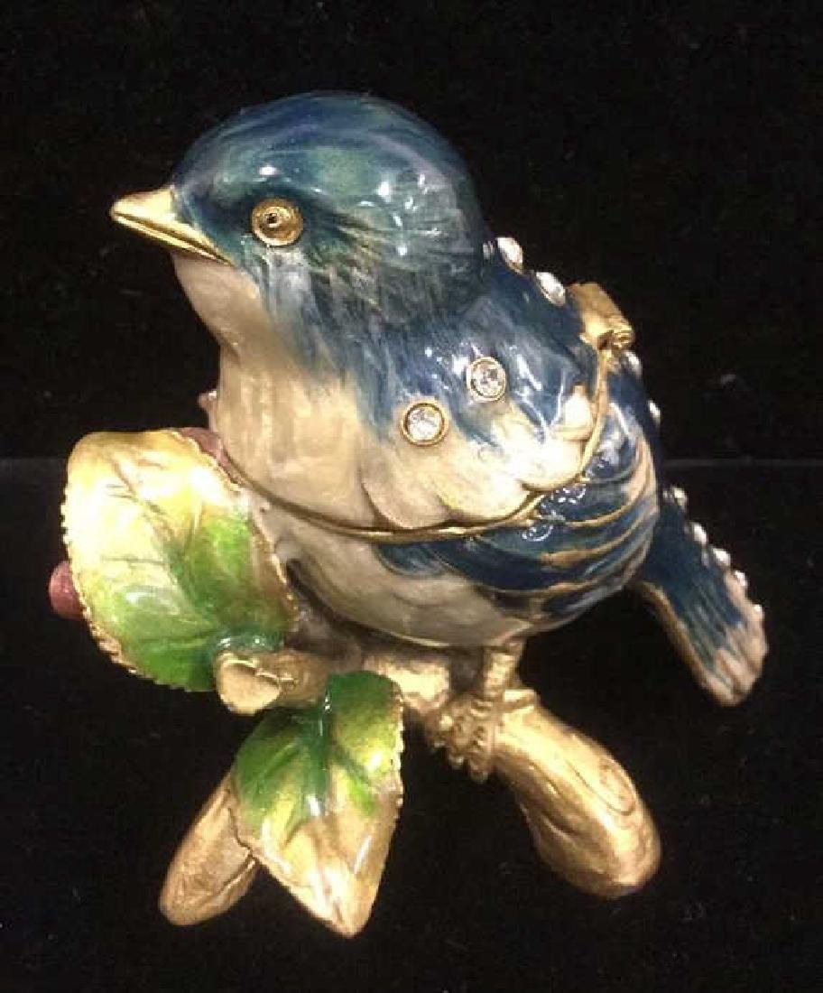 Bejeweled Blue Bird Enameled Jewelry Trinket Box