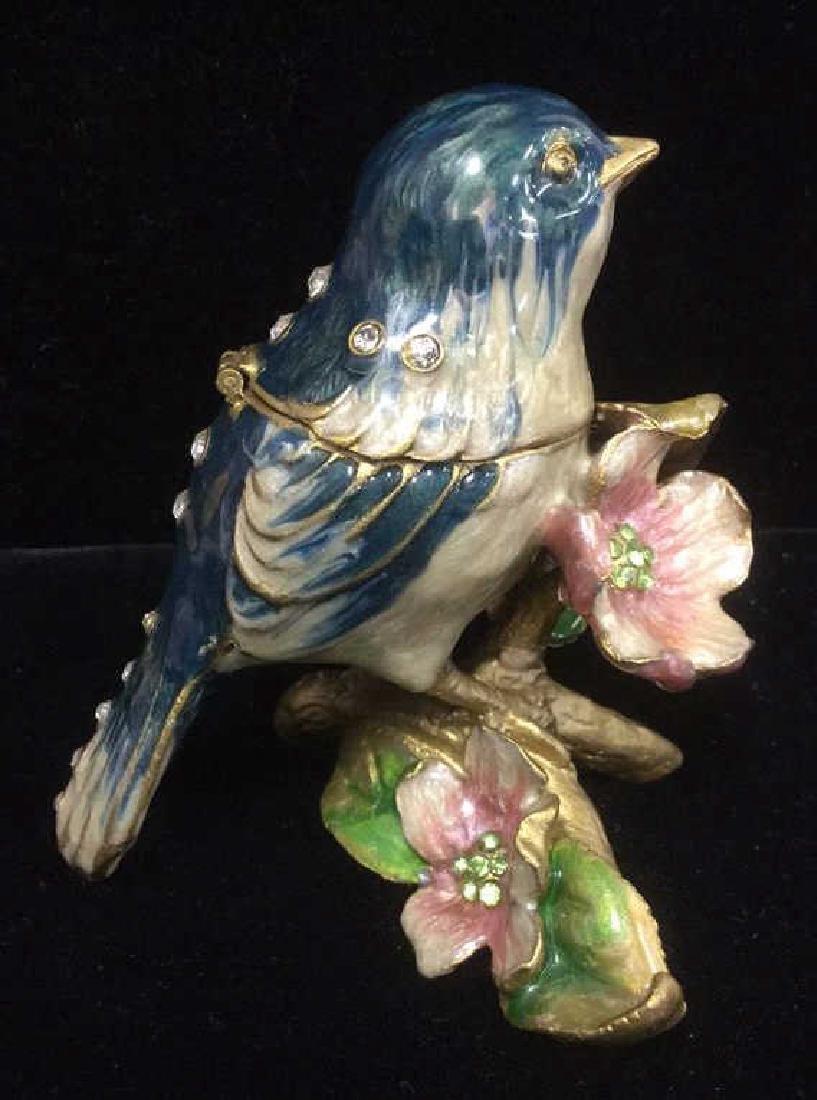 Bejeweled Blue Bird Enameled Jewelry Trinket Box - 2