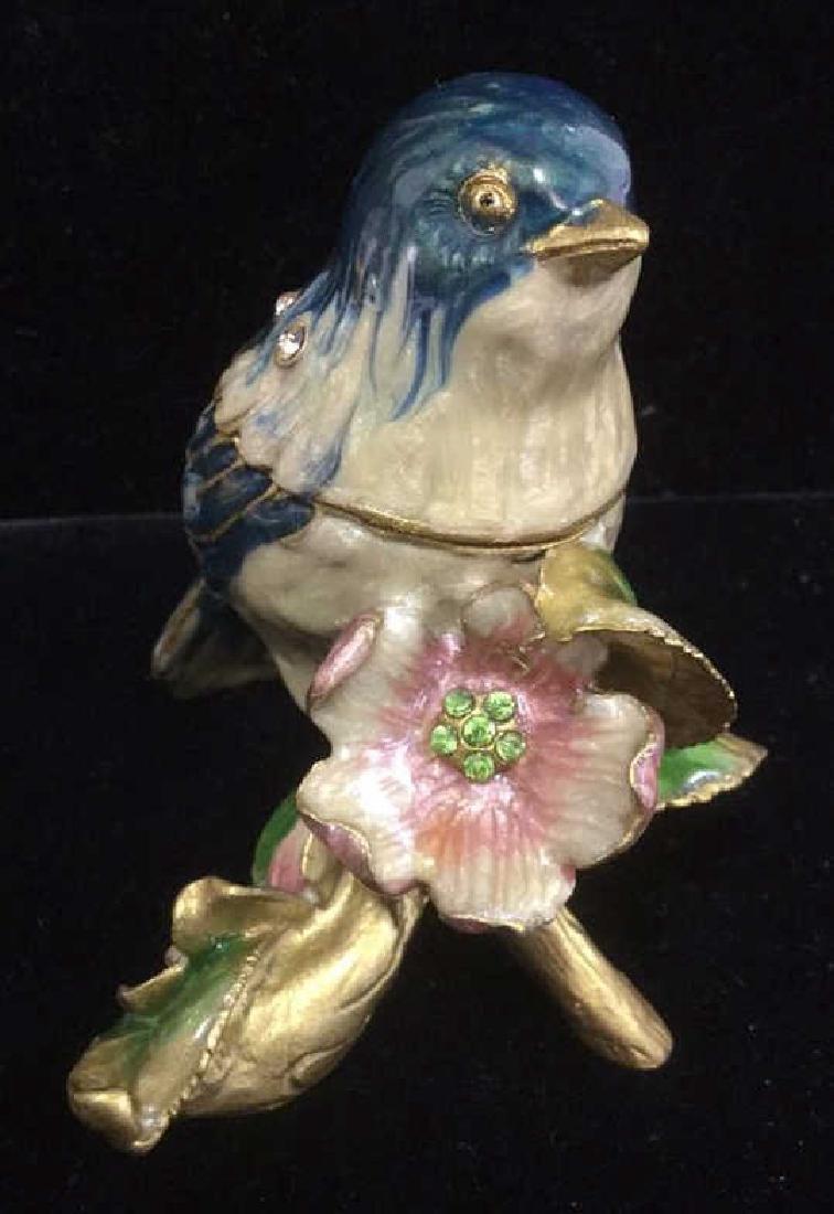 Bejeweled Blue Bird Enameled Jewelry Trinket Box - 3