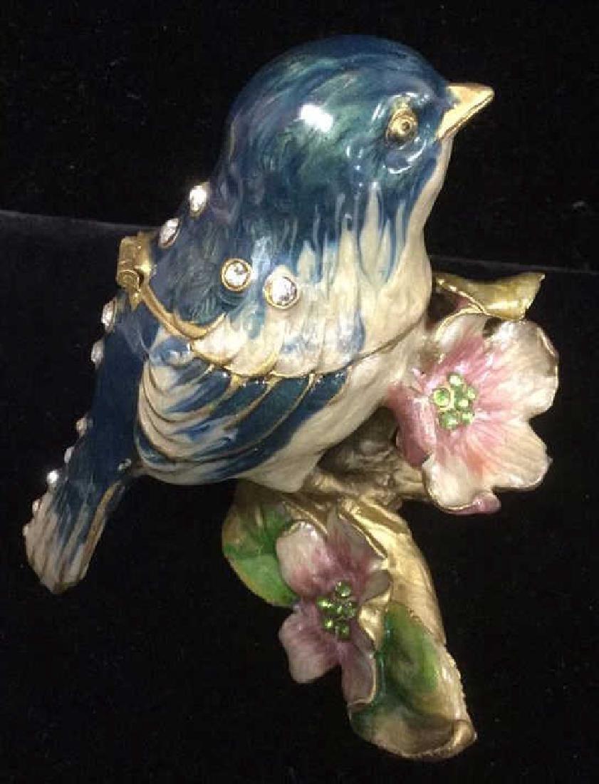 Bejeweled Blue Bird Enameled Jewelry Trinket Box - 4