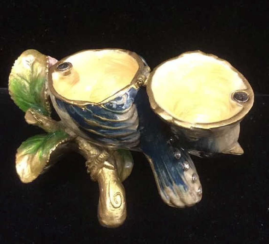 Bejeweled Blue Bird Enameled Jewelry Trinket Box - 5