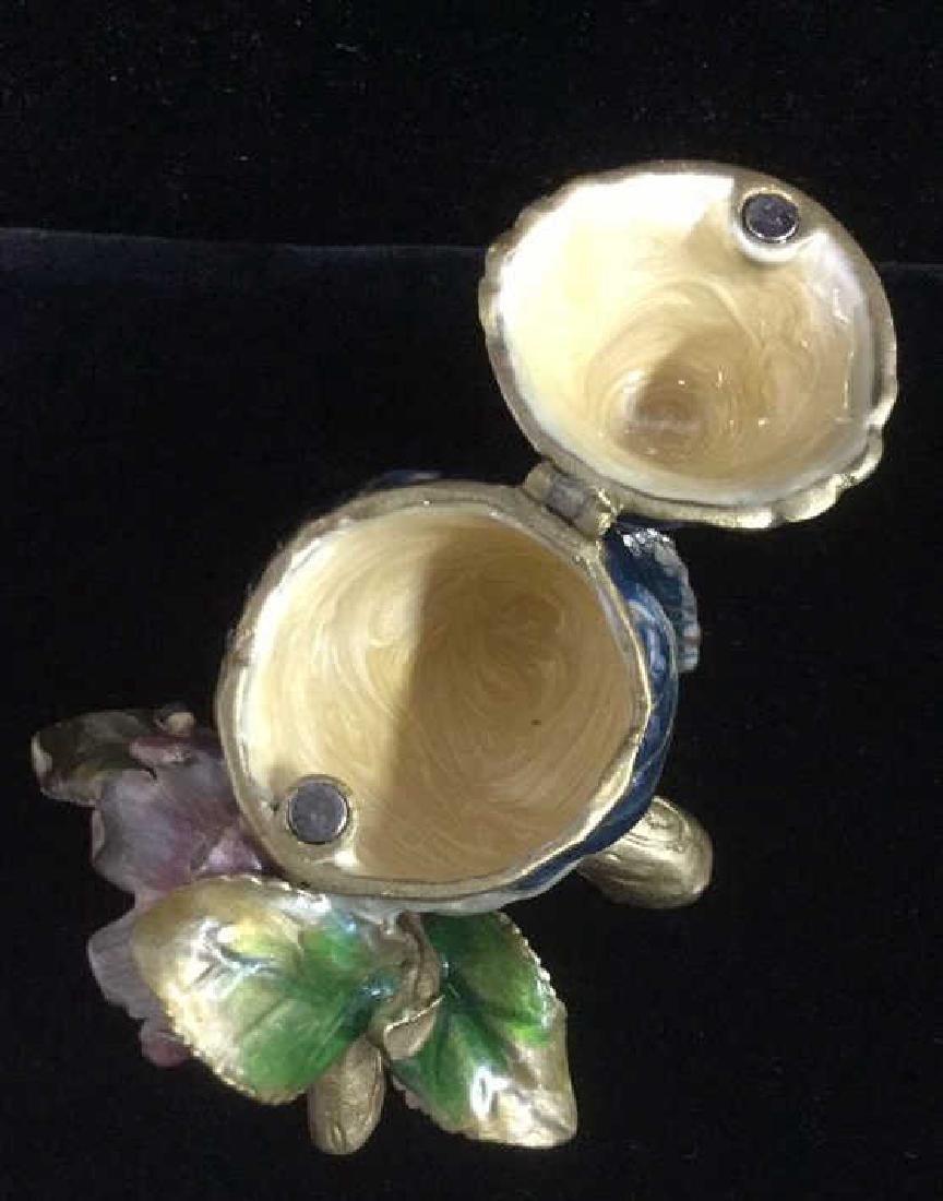 Bejeweled Blue Bird Enameled Jewelry Trinket Box - 6
