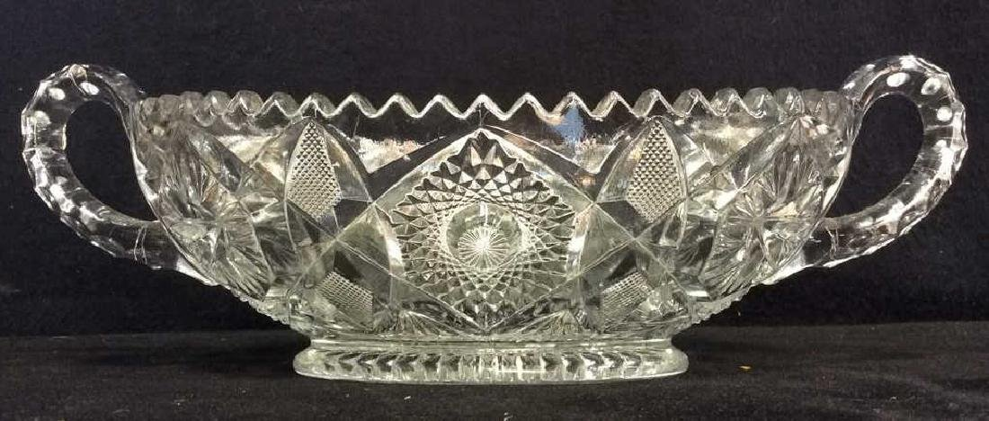 Handled Oval Ornately Cut Crystal Bowl