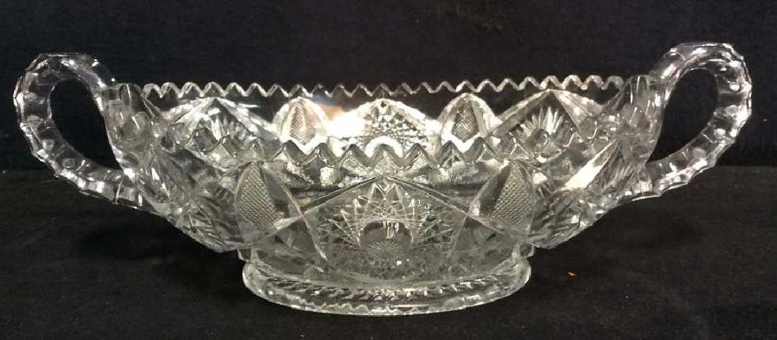 Handled Oval Ornately Cut Crystal Bowl - 2