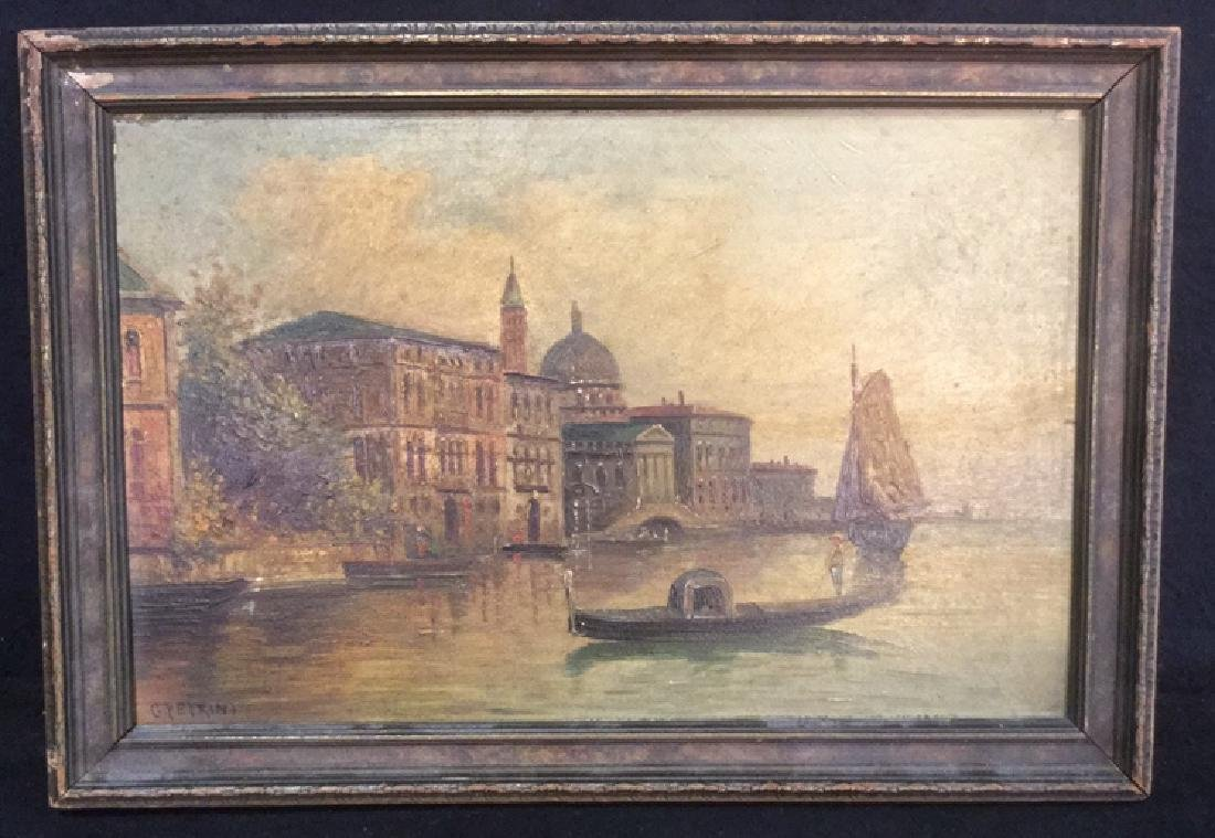Antique Painting Of Venice By G. Petrini