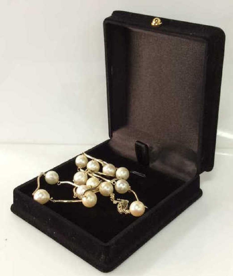 14 K CP Gold And Pearl Necklace Jewelry w Box - 7