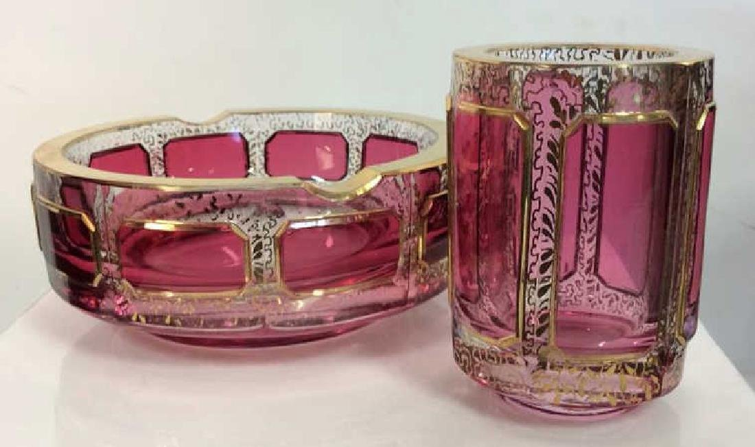 Pair Cranberry Toned Glass Ash Tray W Cup