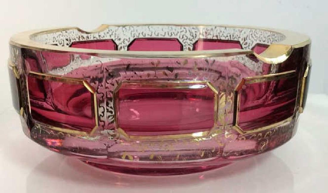 Pair Cranberry Toned Glass Ash Tray W Cup - 2