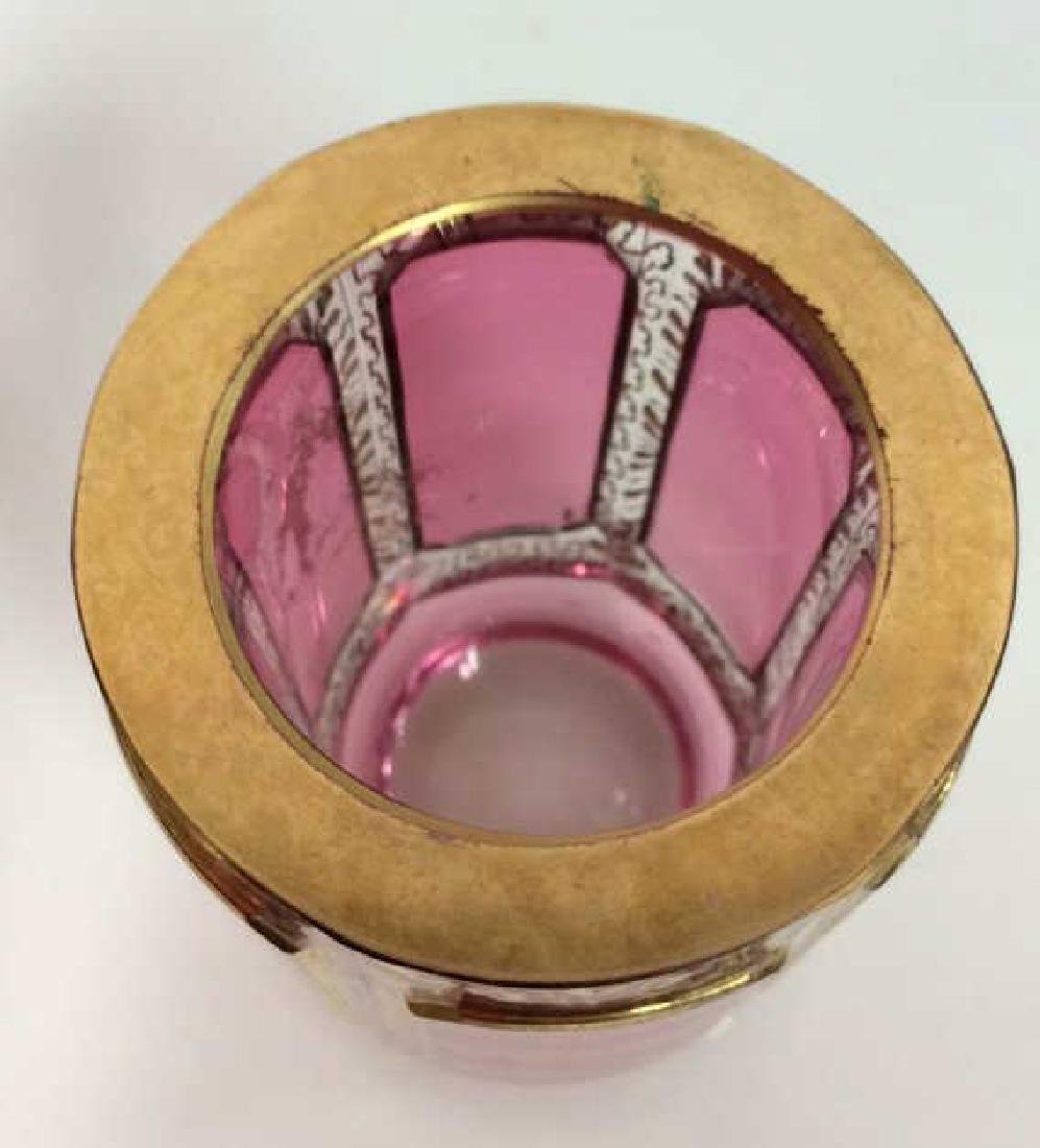 Pair Cranberry Toned Glass Ash Tray W Cup - 8