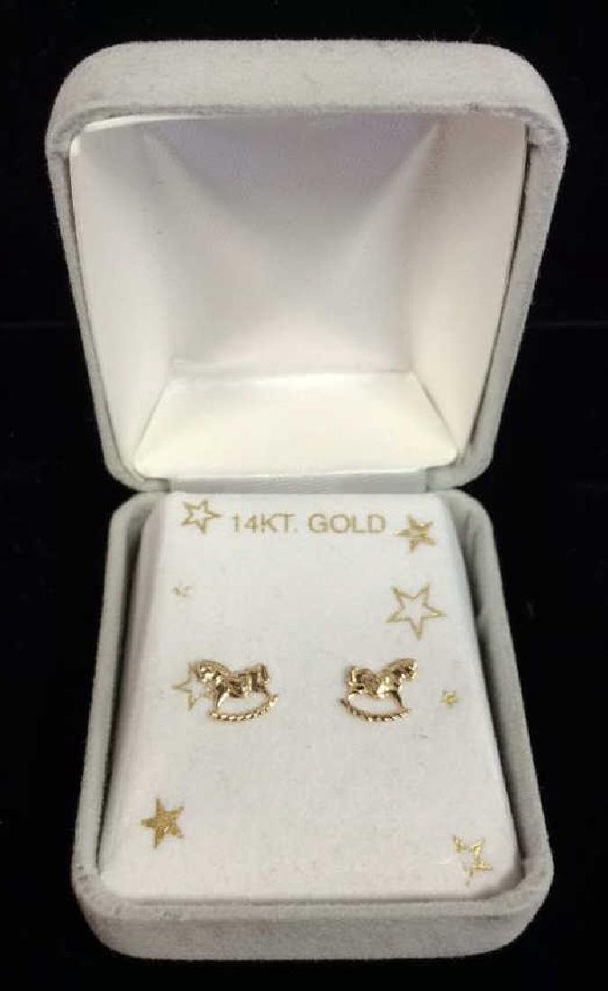 14 K Gold Rocking Horse Post Earrings w Box