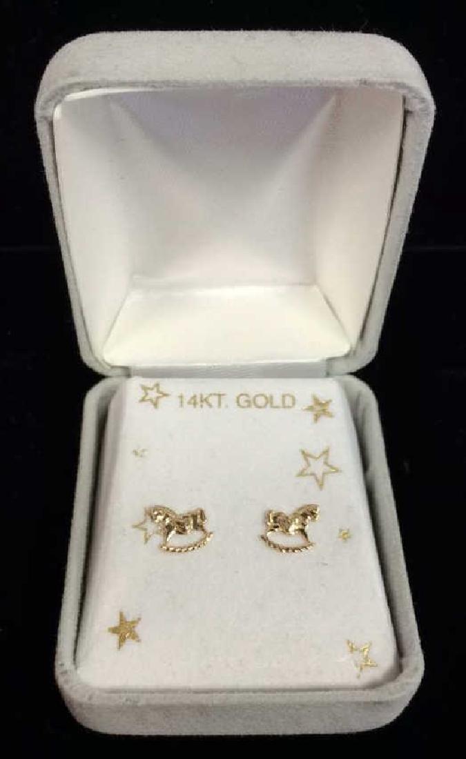 14 K Gold Rocking Horse Post Earrings w Box