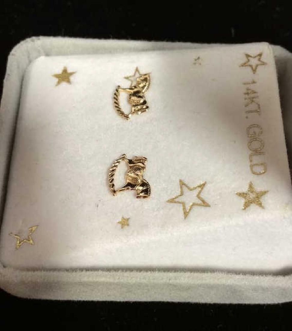 14 K Gold Rocking Horse Post Earrings w Box - 3