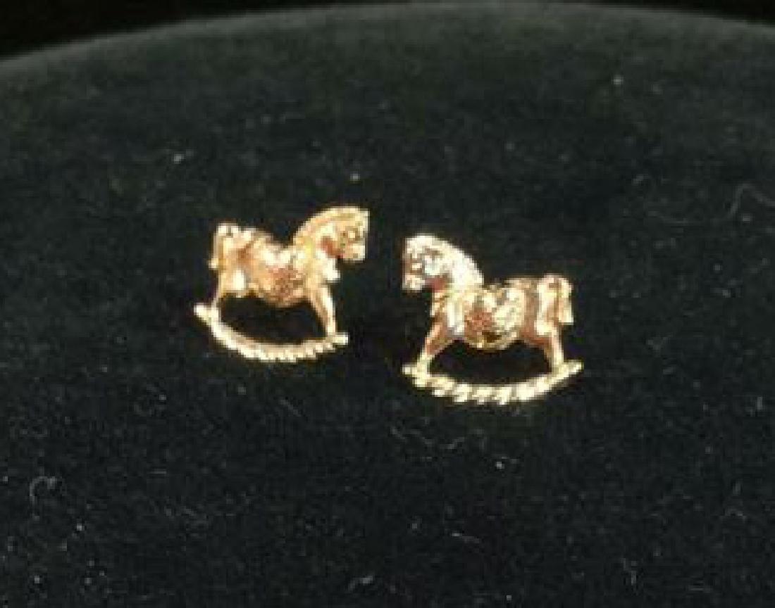 14 K Gold Rocking Horse Post Earrings w Box - 5