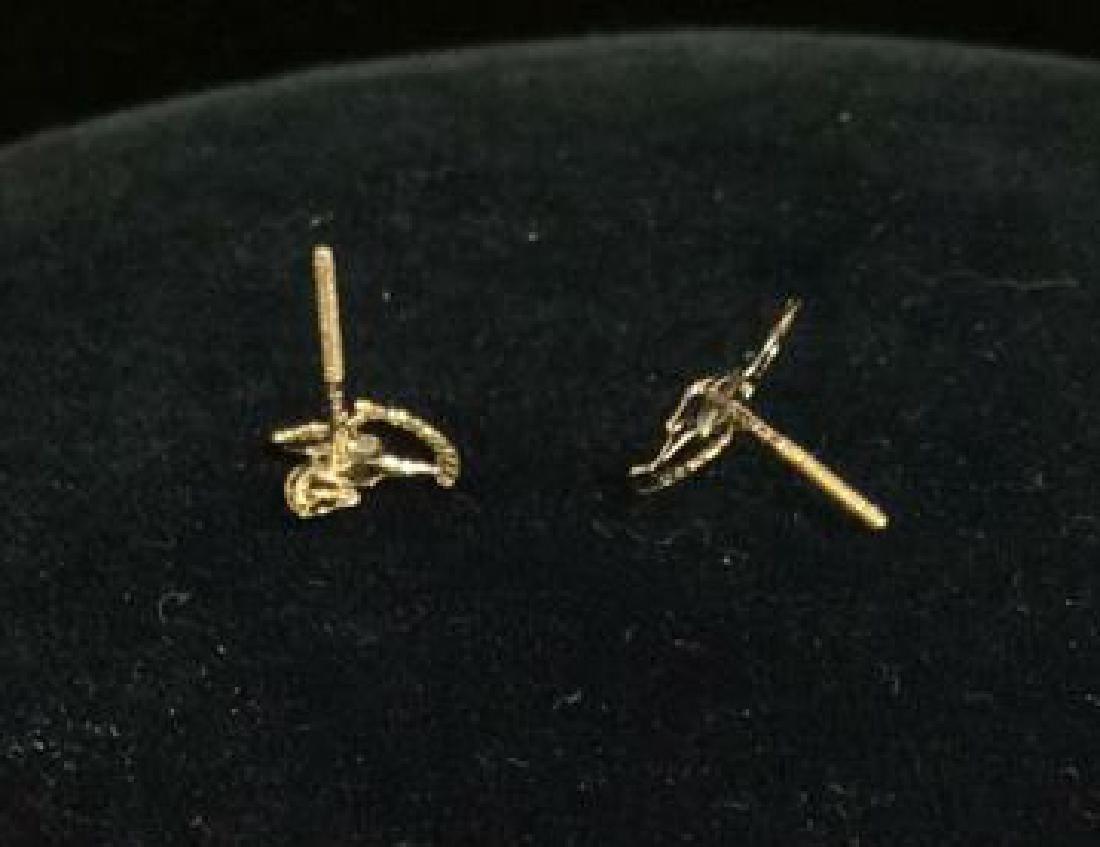 14 K Gold Rocking Horse Post Earrings w Box - 6