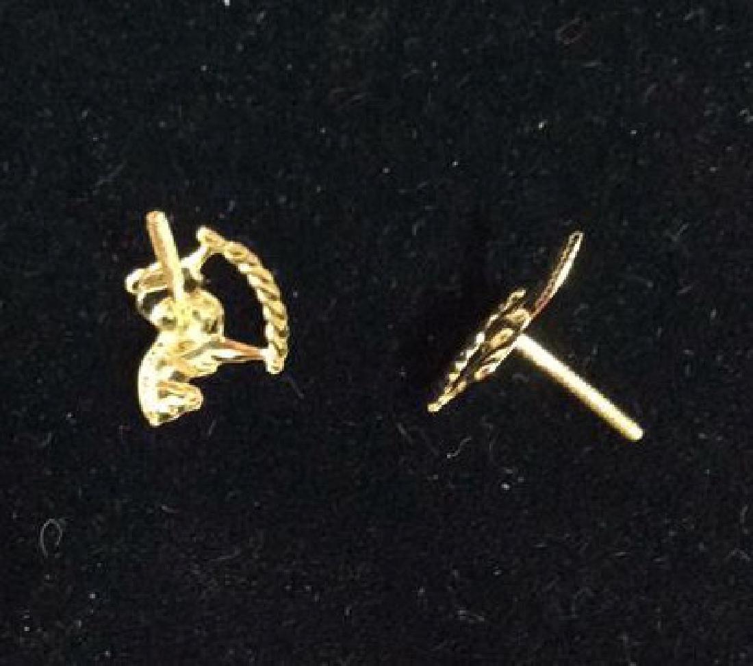 14 K Gold Rocking Horse Post Earrings w Box - 7