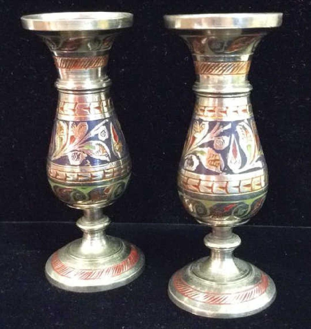 Pair Silver Toned  Designed Metal Candlesticks