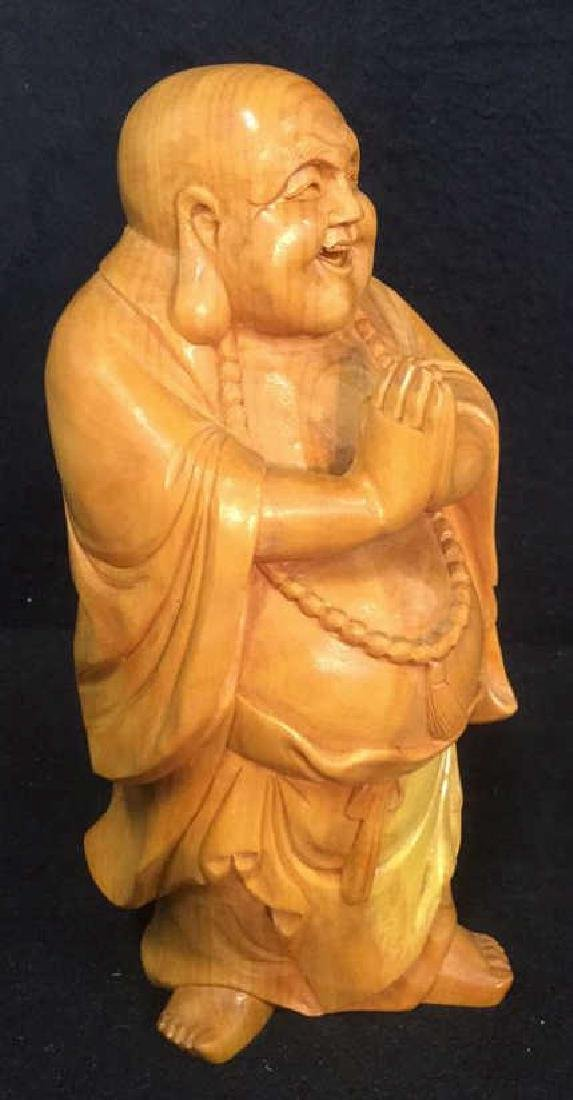 Wooden Laughing Buddha Statue - 2
