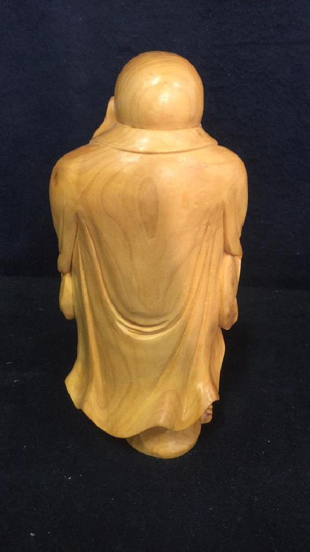 Wooden Laughing Buddha Statue - 4