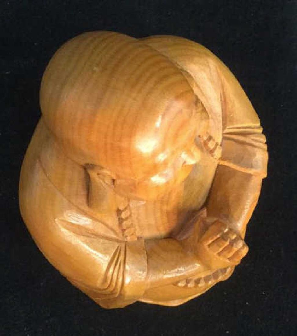 Wooden Laughing Buddha Statue - 6