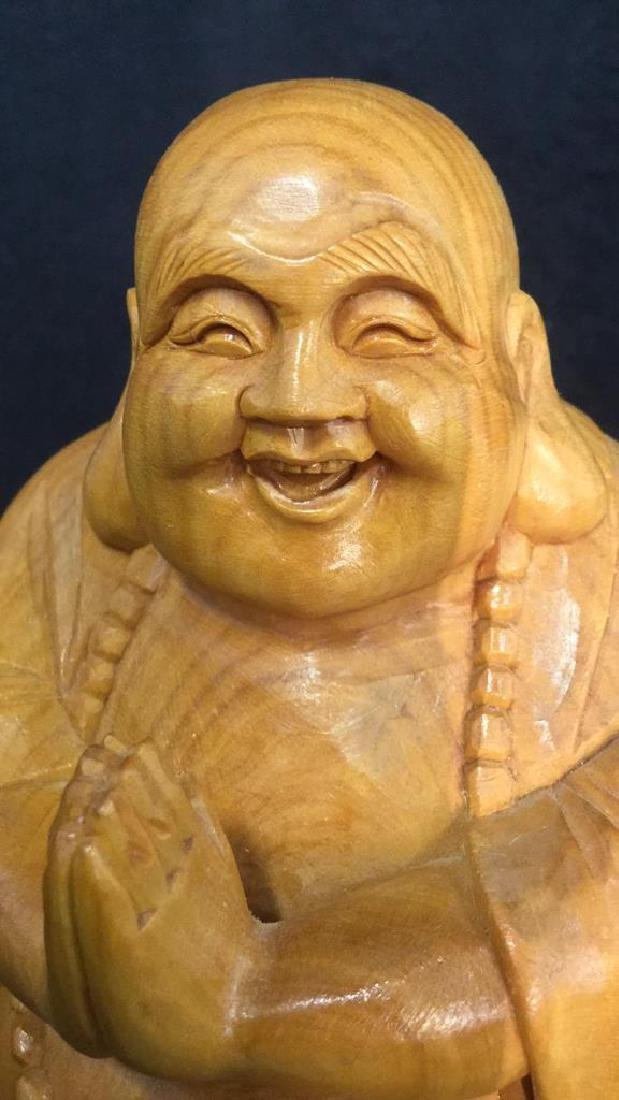 Wooden Laughing Buddha Statue - 7