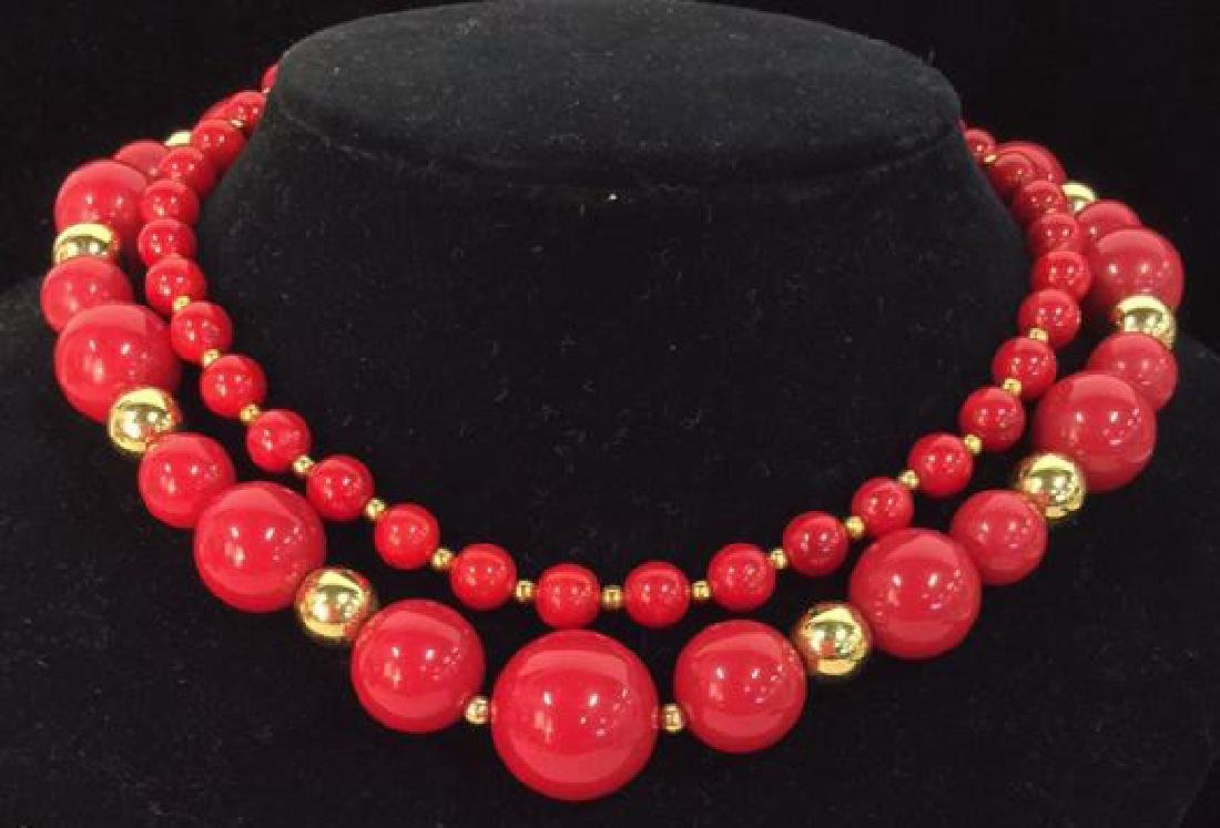 Lot 2 Women's Red Toned Beaded Necklaces