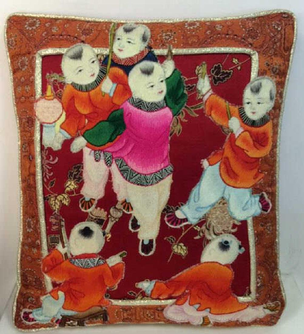 Asian Style Embroidered Pillow