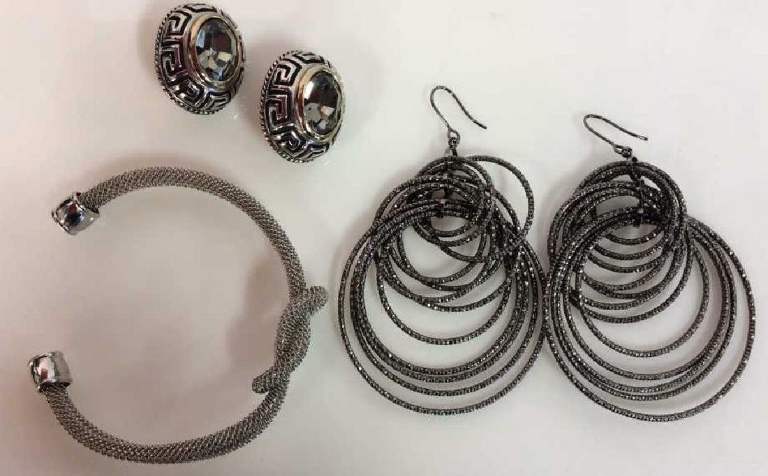 Lot 3 Silver Toned Metal Costume Jewelry