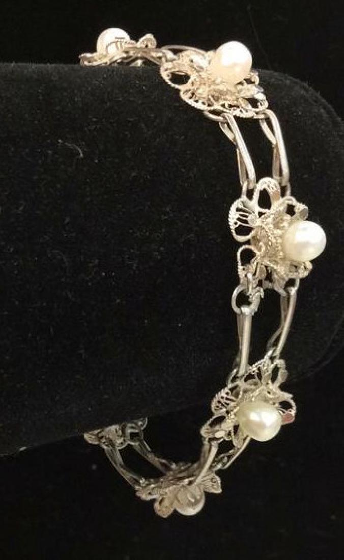 Silver Toned Metal Floral Design Bracelet W Pearls - 2