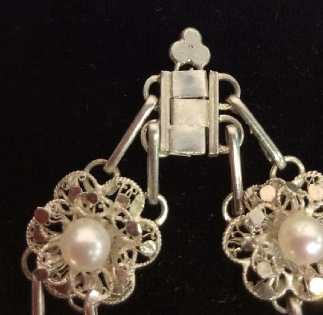 Silver Toned Metal Floral Design Bracelet W Pearls - 3