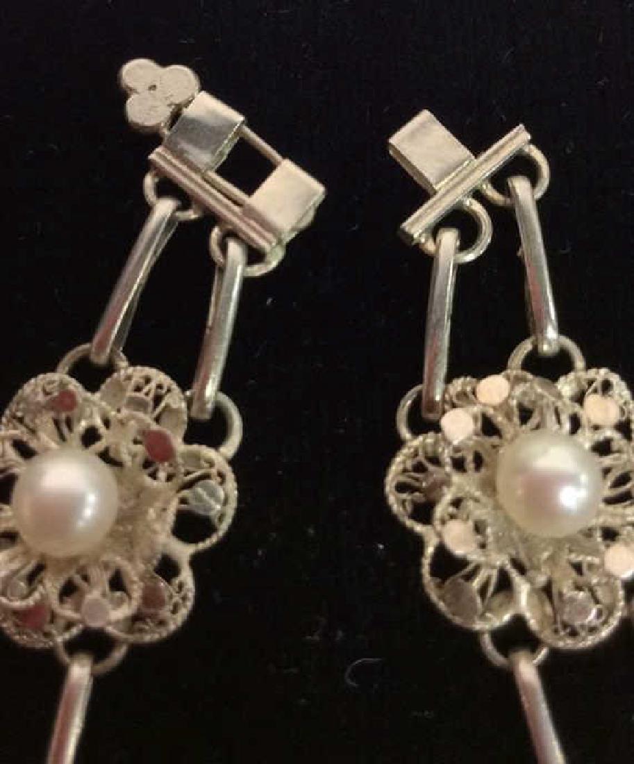 Silver Toned Metal Floral Design Bracelet W Pearls - 4