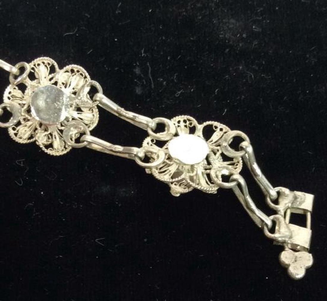 Silver Toned Metal Floral Design Bracelet W Pearls - 7