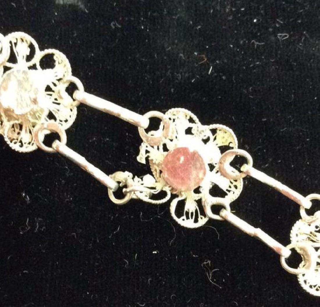 Silver Toned Metal Floral Design Bracelet W Pearls - 8