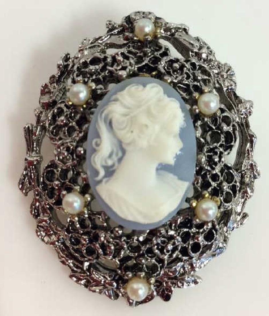Silver Toned Metal Cameo Brooch Pin