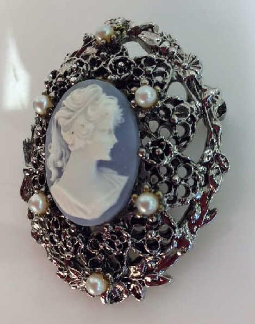 Silver Toned Metal Cameo Brooch Pin - 2
