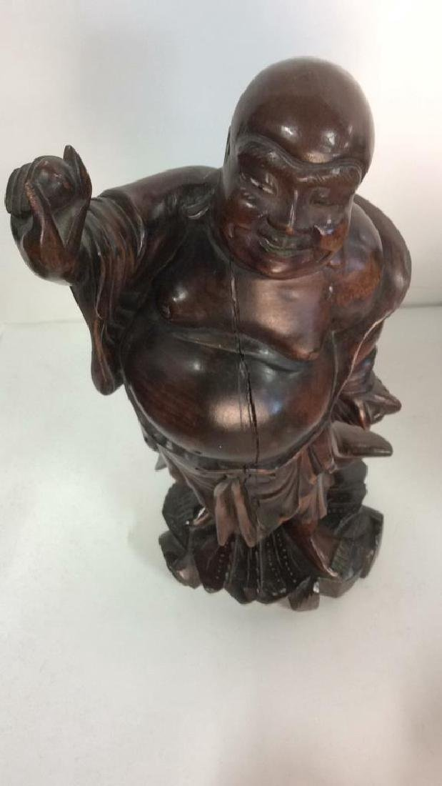 Wooden Laughing Buddha Statue - 8