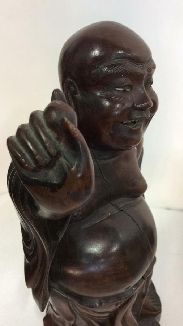 Wooden Laughing Buddha Statue - 9