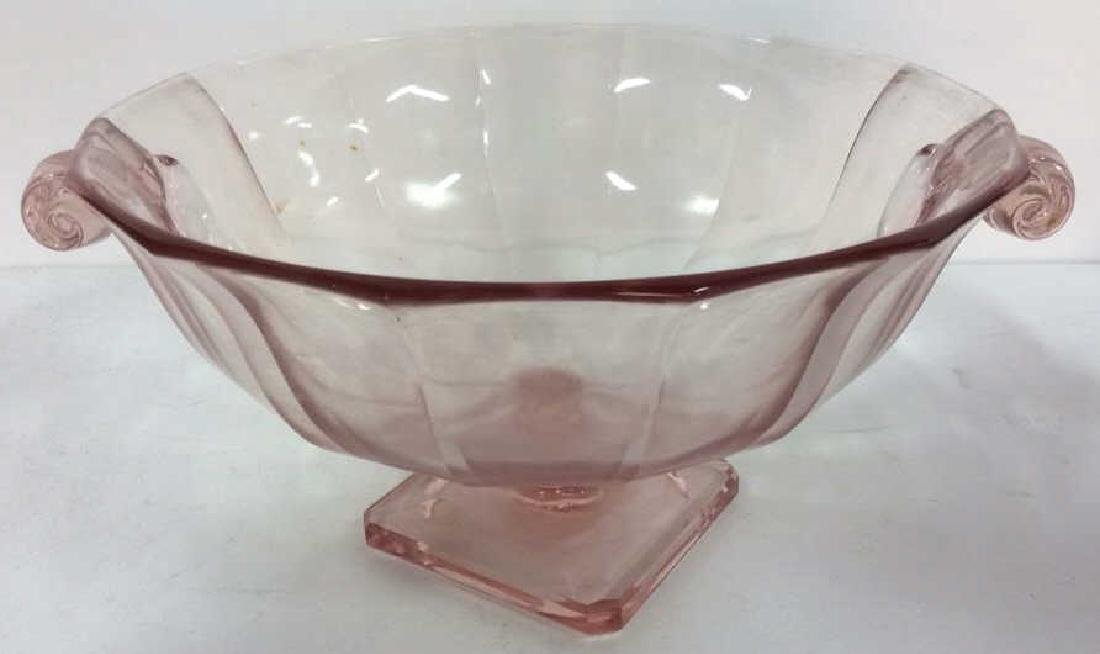 Lot 3 Pink Glass Candlestick Holders & Bowl - 2