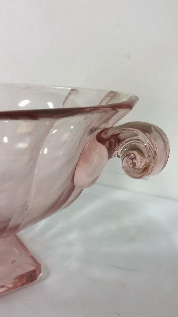 Lot 3 Pink Glass Candlestick Holders & Bowl - 4