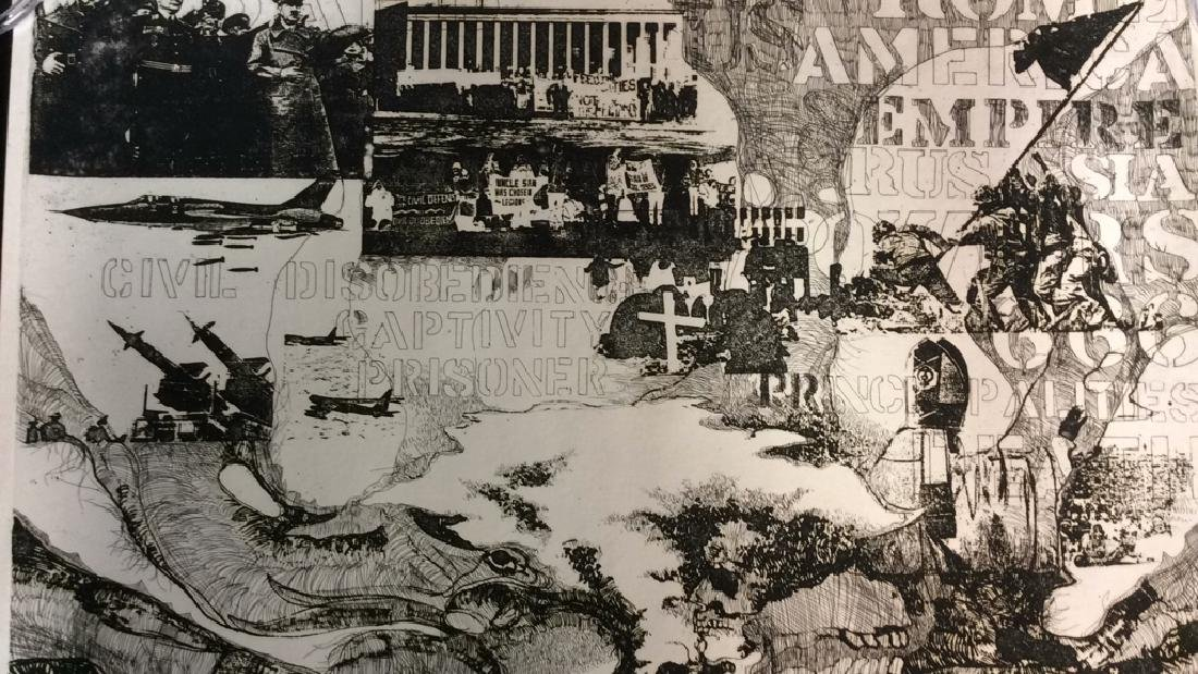 Signed Pop Art Collage Etching 1960-1970