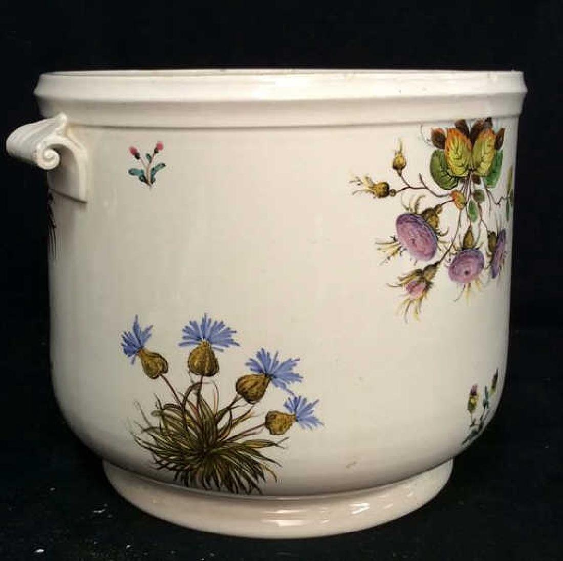 Italian Painted Floral Ceramic Planter Tiffany