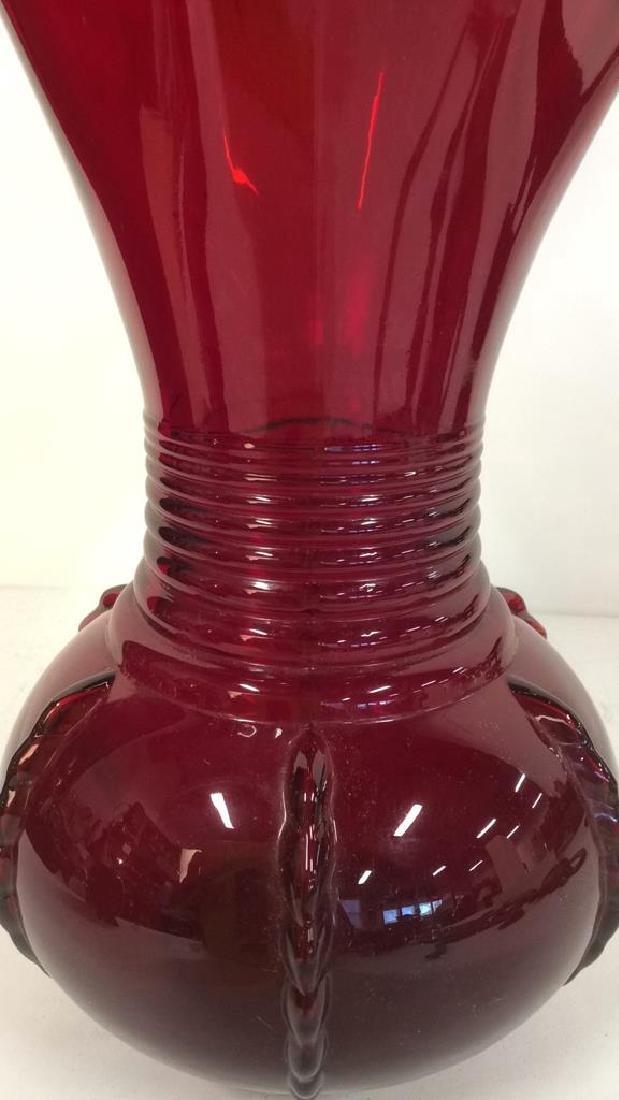 Ruby Toned Art Glass Vase - 6