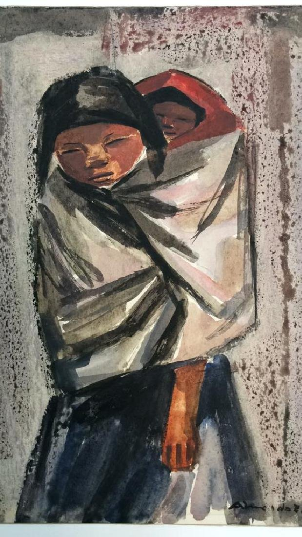 Vintage Mexican Modernist Watercolor c 1930s