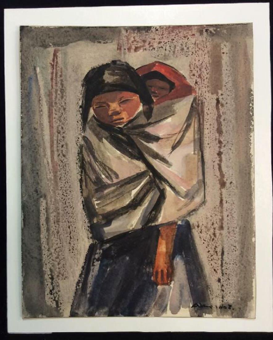 Vintage Mexican Modernist Watercolor c 1930s - 2